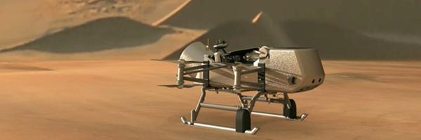 Image: NASA illustration of Dragonfly drone flying around Saturn's moon Titan